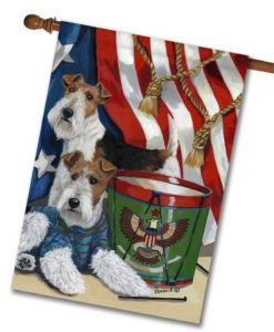 Fox Wire Terrier Stars & Stripes- House Flag - 28'' x 40''
