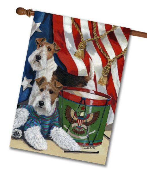 Fox Wire Terrier Stars & Stripes- House Flag - 28'' x 40''