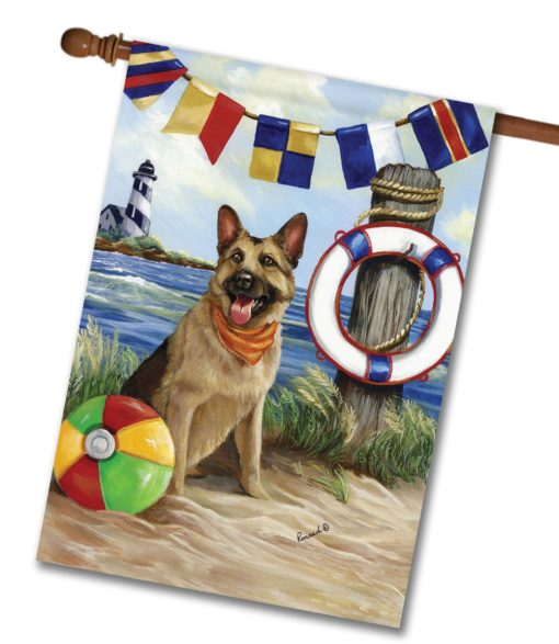 German Shepherd Life Saver- House Flag - 28'' x 40''