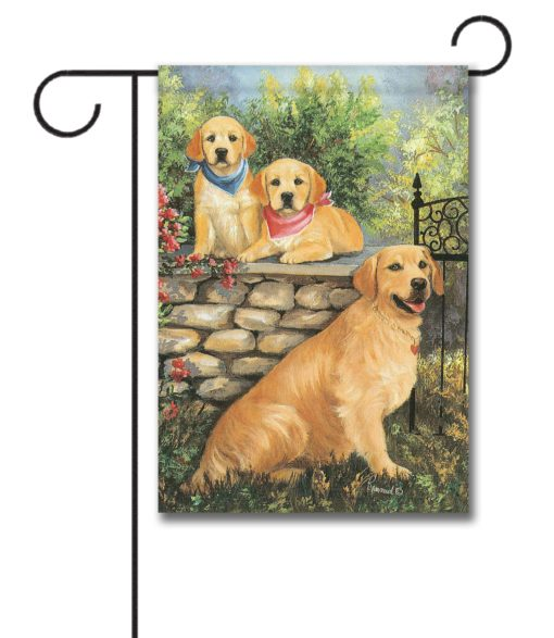Golden Retrievers at the Gate - Garden Flag - 12.5'' x 18''