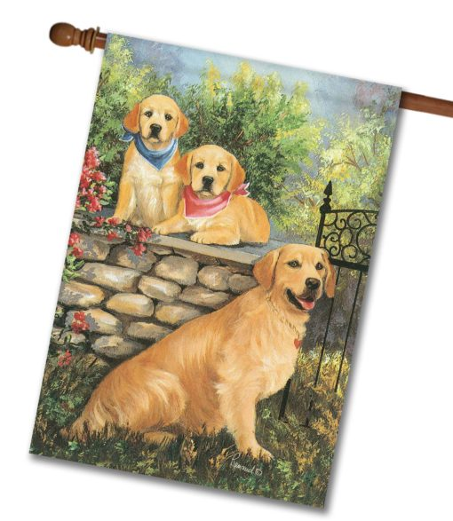 Golden Retrievers at the Gate - House Flag - 28'' x 40''