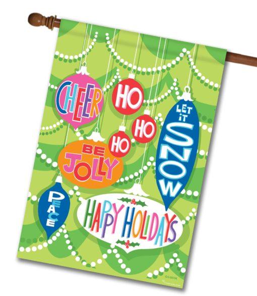 Happy Holidays Ornaments- House Flag - 28'' x 40''