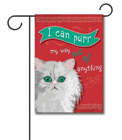 I Can Purr Persian Cat- Garden Flag - 12.5'' x 18''