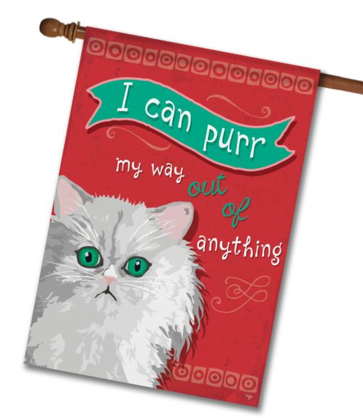 I Can Purr Persian Cat- House Flag - 28'' x 40''
