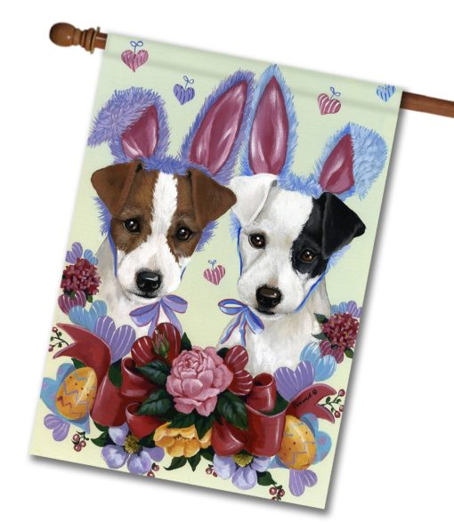 Jack Russell Terrier Bunnies - House Flag - 28'' x 40''