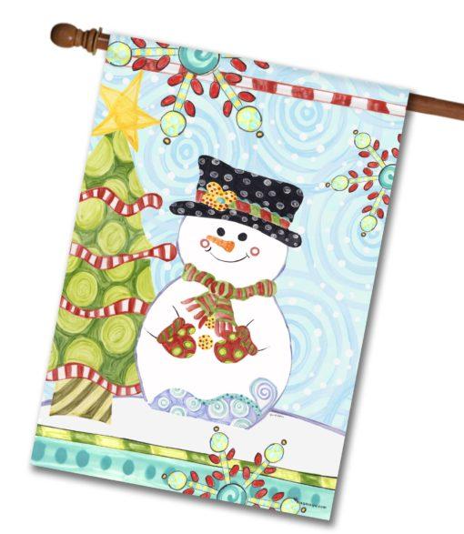 Jolly Christmas Snowman- House Flag - 28'' x 40''