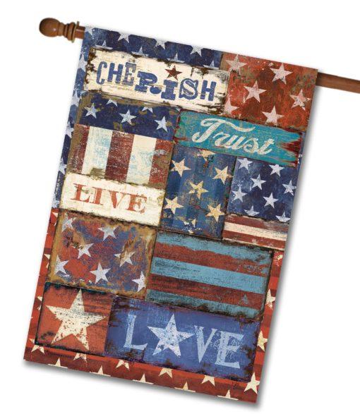 Live Love Trust Patriotic - House Flag - 28'' x 40''