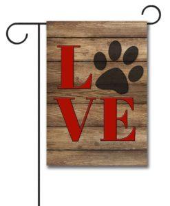 Love Paw Print - Garden Flag - 12.5'' x 18''