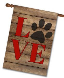 "Love Paw Print - House Flag 28""x40"""