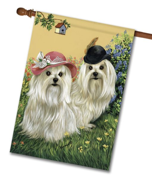 Maltese Mr & Mrs - House Flag - 28'' x 40''