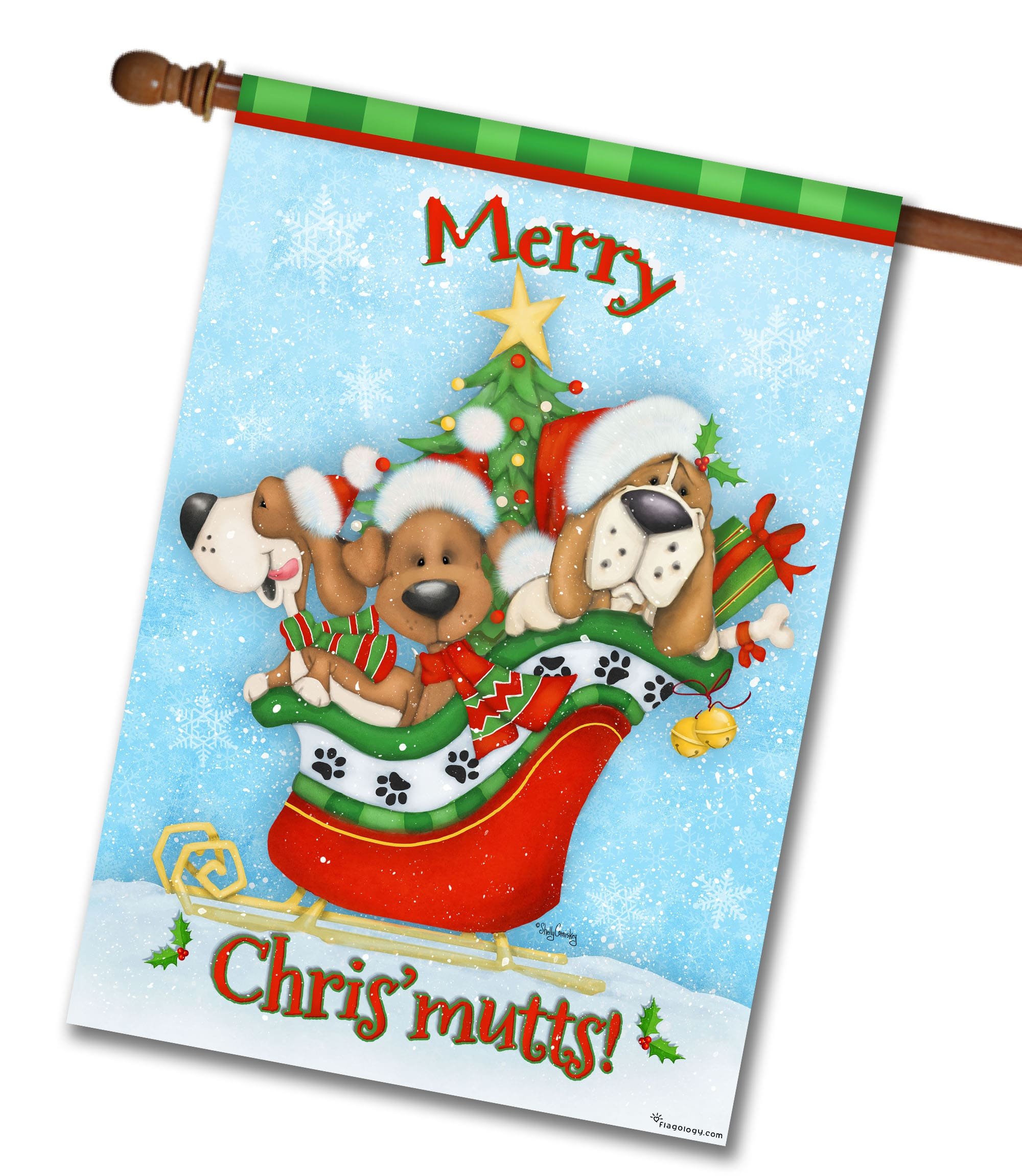 merry chrismutts house flag 28 x