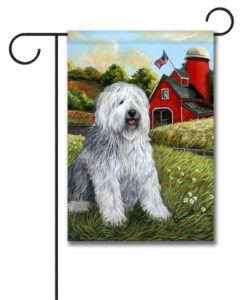 Old English Sheepdog Heaven - Garden Flag - 12.5'' x 18''