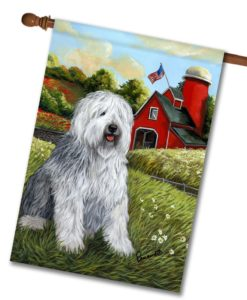 Old English Sheepdog Heaven - House Flag - 28'' x 40''