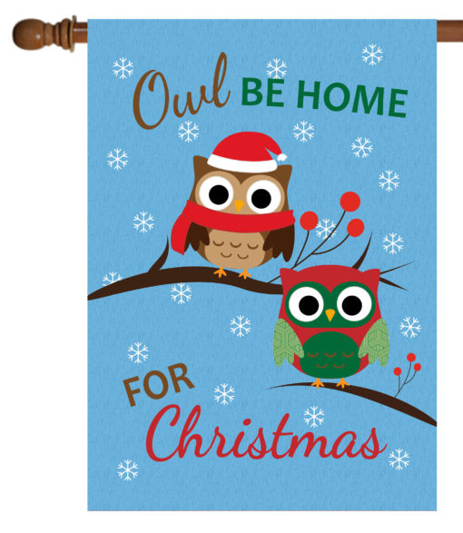 Owl Be Home For Christmas - House Flag - 28'' x 40''