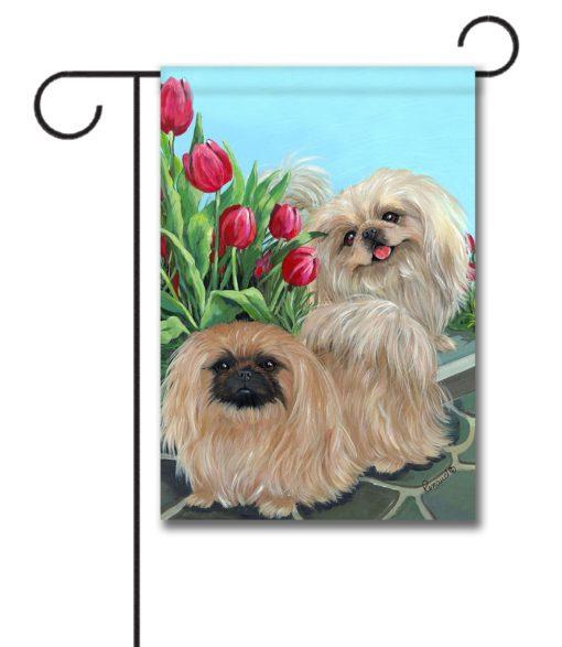 Pekingese & Tulips - Garden Flag - 12.5'' x 18''