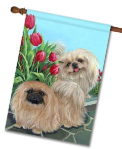 Pekingese & Tulips - House Flag - 28'' x 40''