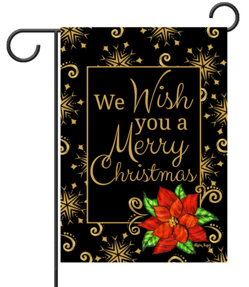 Poinsettia Christmas Wishes - Garden Flag - 12.5'' x 18''