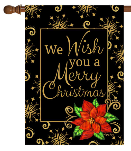 Poinsettia Christmas Wishes - House Flag - 28'' x 40''