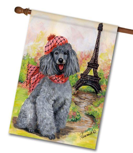 Poodle In Paris - House Flag - 28'' x 40''