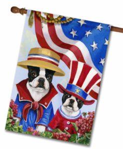 Boston Terrier American Pride- House Flag - 28'' x 40''