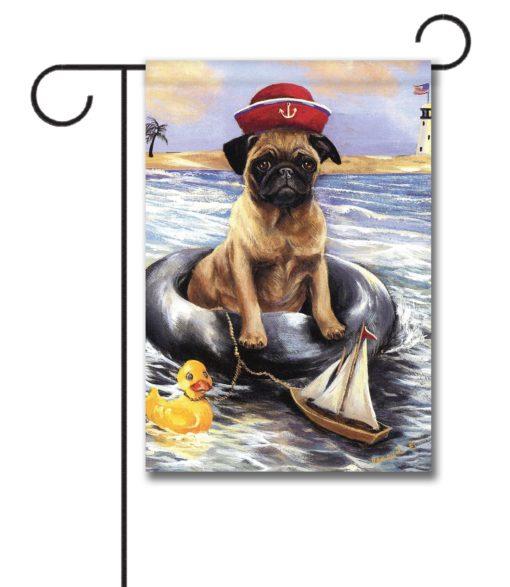 Pug Ahoy- Garden Flag - 12.5'' x 18''