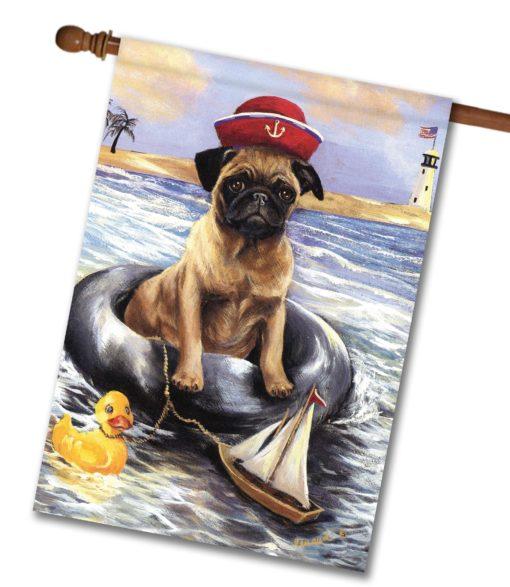 Pug Ahoy- House Flag - 28'' x 40''
