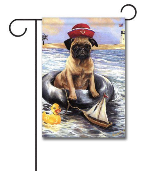 Pug Sailor - Garden Flag - 12.5'' x 18''