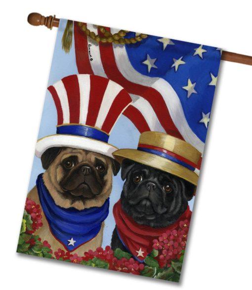 Pug American Pride - House Flag - 28'' x 40''