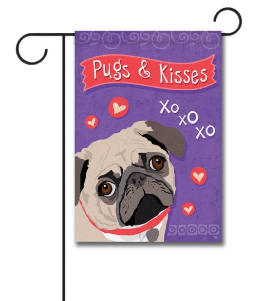 Pugs & Kisses- Garden Flag - 12.5'' x 18''