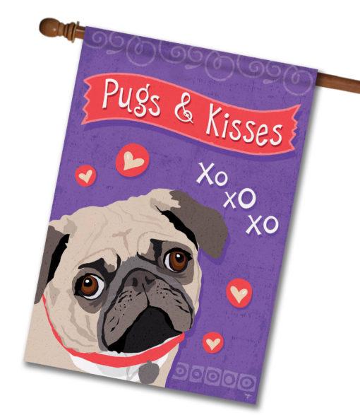 Pugs & Kisses- House Flag - 28'' x 40''
