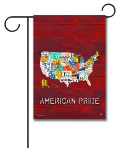 American Pride Red Rustic Wood- Garden Flag - 12.5'' x 18''