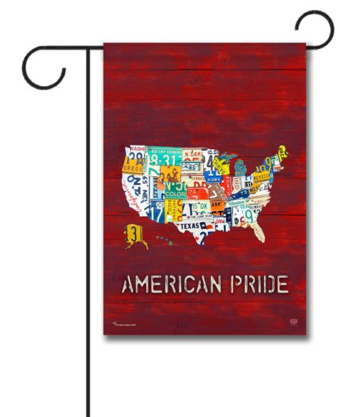 American Pride Red Rustic Wood- Garden Flag - 12.5'' x 18''