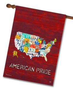 American Pride Red Rustic Wood - House Flag - 28'' x 40''