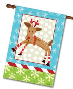 Reindeer Polka Dots- House Flag - 28'' x 40''