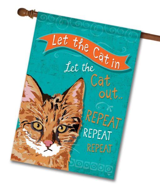 Repeat Repeat Repeat Ginger Cat- House Flag - 28'' x 40''