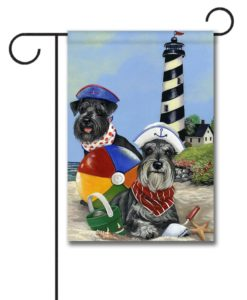 Schnauzer Beach Buddies- Garden Flag - 12.5'' x 18''