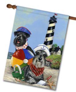 Schnauzer Beach Buddies- House Flag - 28'' x 40''