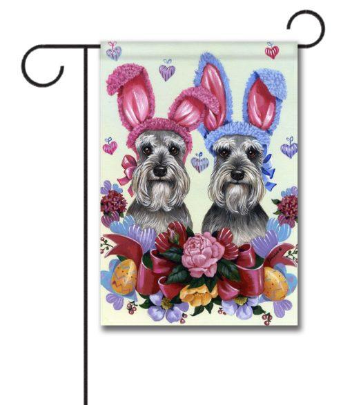 Schnauzer Easter Bunnies - Garden Flag - 12.5'' x 18''