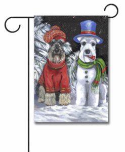 Schnauzer Snowdog- Garden Flag - 12.5'' x 18''