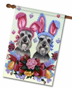 Schnauzer Easter Bunnies- House Flag - 28'' x 40''