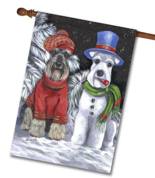 Schnauzer Snowdog- House Flag - 28'' x 40''