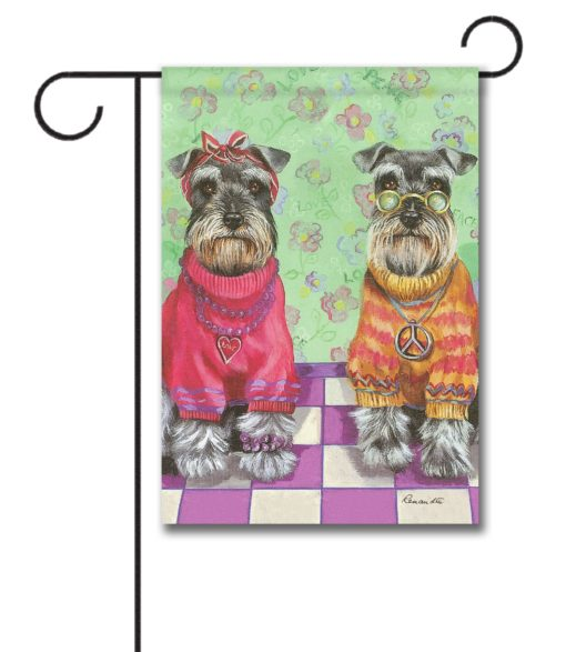 Schnauzer Love & Peace - Garden Flag - 12.5'' x 18''