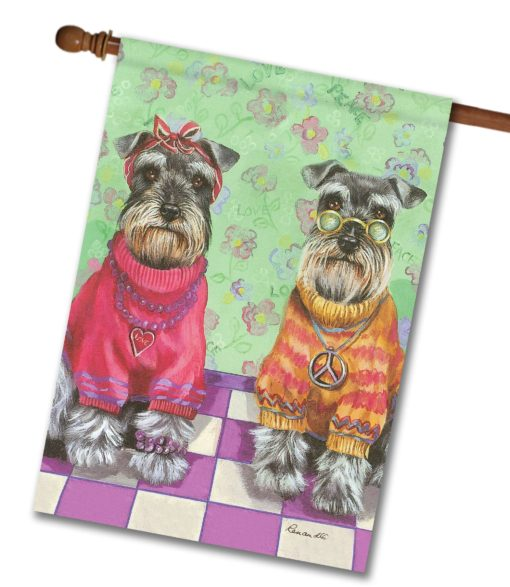 Schnauzer Love & Peace - House Flag - 28'' x 40''