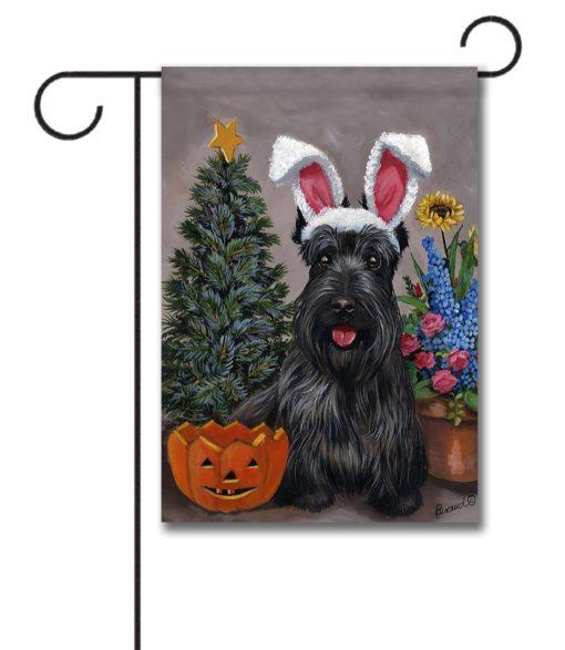 Scottish Terrier 4 Seasons - Garden Flag - 12.5'' x 18''