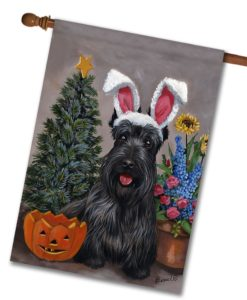 Scottish Terrier 4 Seasons - House Flag - 28'' x 40''