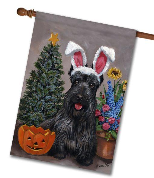 Scottish Terrier 4 Seasons - House Flag - 28'' x 40''
