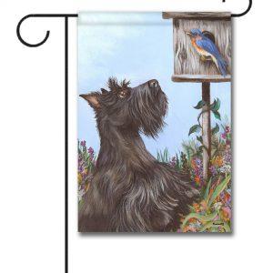 Scottish Terrier Bluebird - Garden Flag - 12.5'' x 18''