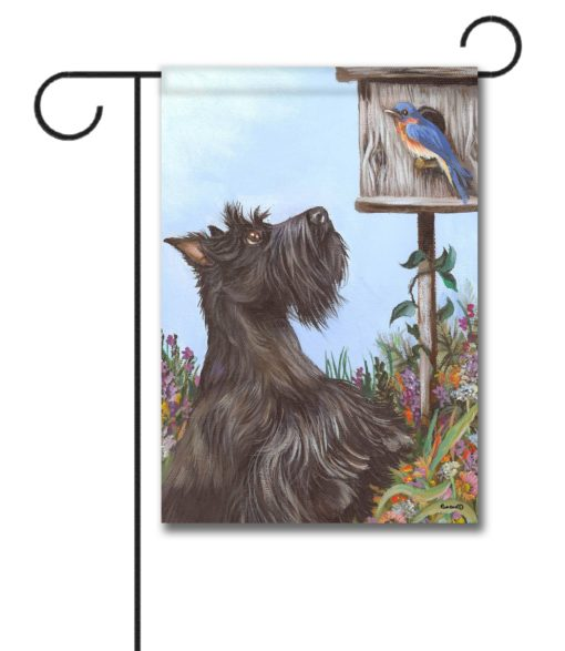 Scottish Terrier Bluebird - Garden Flag - 12.5'' x 18''