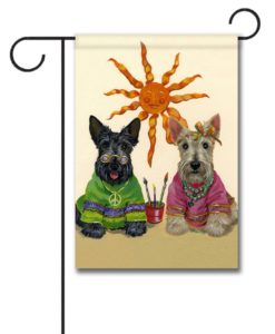 Scottish Terrier Hippie Dippies - Garden Flag - 12.5'' x 18''