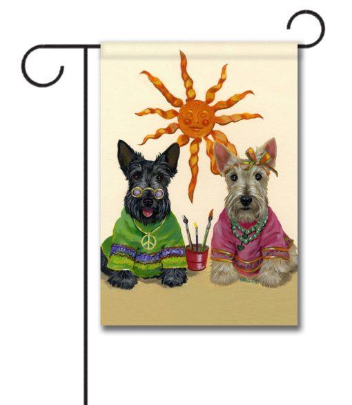 Scottish Terrier Hippie Dippies - Garden Flag - 12.5'' x 18''